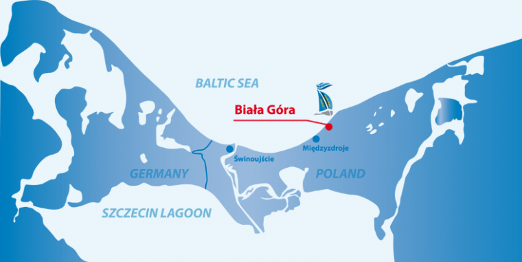 Map of the South Baltic Sea, marking Biała Góra and the island Wolin